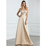 Empire Halter Floor-Length Satin Bridesmaid Dress With Ruffle