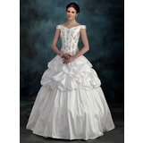 Ball-Gown Off-the-Shoulder Floor-Length Taffeta Wedding Dress With Beading Flower(s)