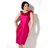 Sheath Scoop Neck Knee-Length Taffeta Bridesmaid Dress With Flower(s)