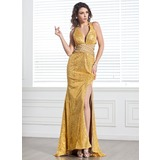 Sheath V-neck Sweep Train Chiffon Sequined Holiday Dress With Beading