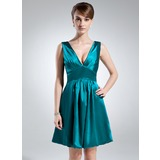 Empire V-neck Knee-Length Charmeuse Bridesmaid Dress With Ruffle