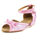 Women's Kids' Leatherette Sparkling Glitter Heels Sandals Flats Latin Ballroom With Bowknot Ankle Strap Dance Shoes