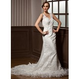 Mermaid V-neck Chapel Train Satin Tulle Wedding Dress With Lace Beadwork (002011605)