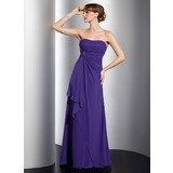 Empire Sweetheart Sweep Train Chiffon Bridesmaid Dress With Beading Cascading Ruffles