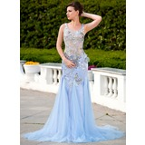 Mermaid Scoop Neck Court Train Tulle Charmeuse Prom Dress With Beading Appliques Flower(s) Sequins (018024584)