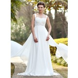 Empire Sweetheart Watteau Train Chiffon Satin Wedding Dress With Ruffle Beading Sequins