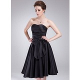 Empire Sweetheart Knee-Length Taffeta Bridesmaid Dress With Ruffle Bow(s)