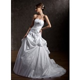 Ball-Gown Strapless Chapel Train Taffeta Wedding Dress With Ruffle Lace Beadwork Sequins
