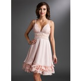 Empire V-neck Knee-Length Chiffon Homecoming Dress With Ruffle Beading Sequins (022021031)