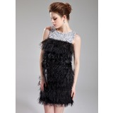 Sheath/Column Scoop Neck Short/Mini Charmeuse Feather Cocktail Dress With Beading Sequins
