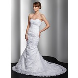 Mermaid Sweetheart Chapel Train Satin Tulle Wedding Dress With Lace Beadwork (002011967)