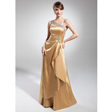 A-Line/Princess Floor-Length Charmeuse Prom Dress With Ruffle Beading Sequins