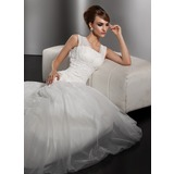 Mermaid Square Neckline Court Train Satin Tulle Wedding Dress With Ruffle Lace Beadwork (002000628)