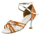Women's Satin Patent Leather Heels Sandals Latin Ballroom Wedding Party With Rhinestone Ankle Strap Dance Shoes