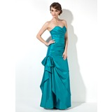 Trumpet/Mermaid Sweetheart Floor-Length Taffeta Bridesmaid Dress With Ruffle Bow(s)