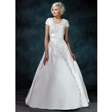 Ball-Gown Scoop Neck Court Train Satin Wedding Dress With Ruffle Beadwork Sequins (002011976)