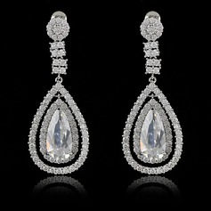Gorgeous Copper/Zircon/Platinum Plated Ladies' Earrings