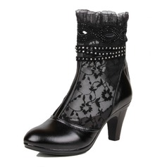 Women's Leatherette Lace Cone Heel Pumps Closed Toe Boots Ankle Boots With Rhinestone shoes