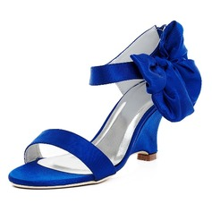 Women's Satin Wedge Heel Pumps Sandals With Bowknot
