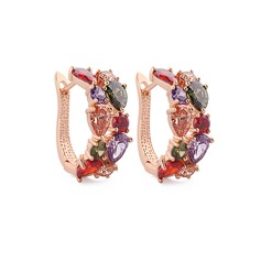 Colourful Zircon/Rose Gold Plated Women's Earrings