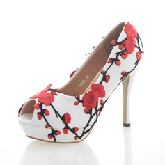 Women's Real Leather Stiletto Heel Peep Toe Platform Pumps With Flower