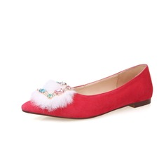 Real Leather Suede Flat Heel Flats Closed Toe With Rhinestone Fur shoes