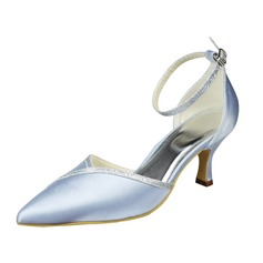 Women's Satin Low Heel Closed Toe Pumps With Buckle