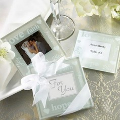 Square Glass Coaster With Ribbons