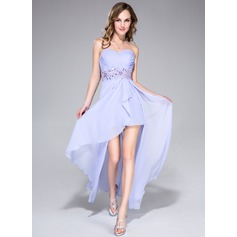 A-Line/Princess Sweetheart Asymmetrical Chiffon Prom Dress With Beading Appliques Lace Sequins Cascading Ruffles