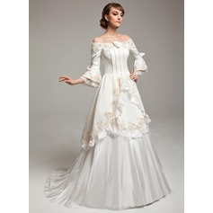 A-Line/Princess Off-the-Shoulder Sweep Train Satin Taffeta Wedding Dress With Lace Beading Flower(s)