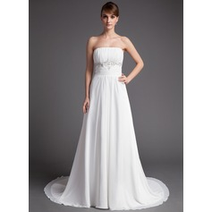 A-Line/Princess Strapless Court Train Chiffon Wedding Dress With Ruffle Beading Sequins