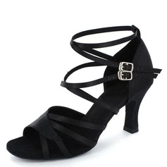 Women's Satin Heels Sandals Latin Salsa With Ankle Strap Dance Shoes
