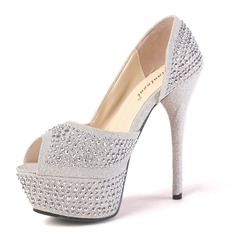 Sparkling Glitter Fabric Stiletto Heel Peep Toe Platform Sandals With Rhinestone