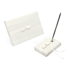 Elegant Satin Bow/Sash Guestbook/Pen Set