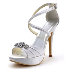 Women's Satin Stiletto Heel Pumps Sandals With Buckle Rhinestone