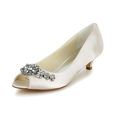 Women's Satin Cone Heel Peep Toe Pumps With Rhinestone