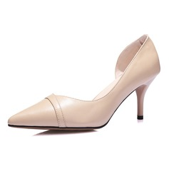 Women's Real Leather Stiletto Heel Pumps Closed Toe shoes (085070164)
