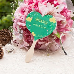 Personalized Heart-shaped Pearl Paper Hand Fans (Set of 10)