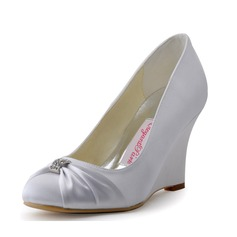 Women's Satin Wedge Heel Closed Toe Pumps
