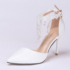 Women's Leatherette Stiletto Heel Closed Toe Pumps With Buckle Imitation Pearl Tassel Crystal