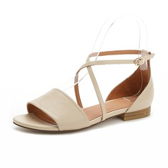 Real Leather Flat Heel Sandals Flats Closed Toe With Buckle shoes