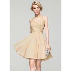 A-Line/Princess Scoop Neck Short/Mini Chiffon Homecoming Dress (022087607)