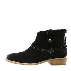 Women's Suede Low Heel Closed Toe Boots Ankle Boots shoes