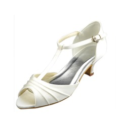 Women's Satin Low Heel Peep Toe Sandals