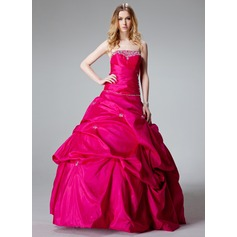Ball-Gown Strapless Floor-Length Taffeta Quinceanera Dress With Ruffle Beading