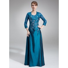 A-Line/Princess Scoop Neck Floor-Length Taffeta Mother of the Bride Dress With Lace Beading Sequins