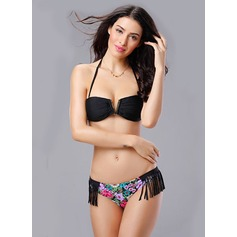 Beautiful Leopard Floral Solid Color Bikini (202084413)