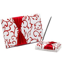 Red Vines Bow Guestbook & Pen Set