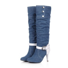 Women's Cloth Stiletto Heel Closed Toe Mid-Calf Boots shoes