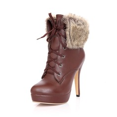 Leatherette Stiletto Heel Ankle Boots With Lace-up Fur shoes
